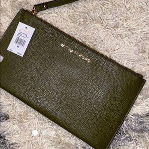 Michael Kors Green Leather Clutch
